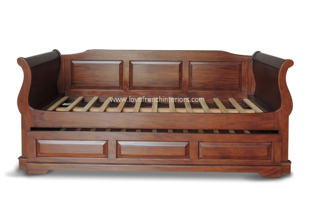 Mahogany Sleigh Day Bed With Hideaway Bed And Rear Panel